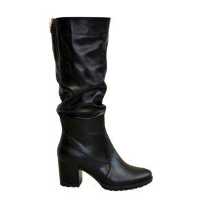 Сапоги женские осень зима черные кожаные, на устойчивом каблуке