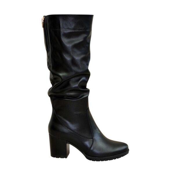 Сапоги женские демисезонные черные кожаные на устойчивом каблуке