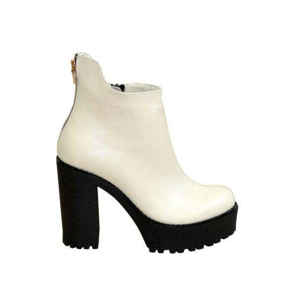 Ботинки кожаные женские зимние на высоком каблуке