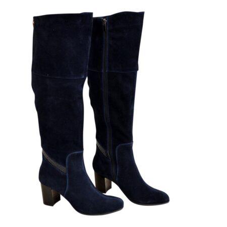 Ботфорты синие замшевые осень зима на устойчивом каблуке
