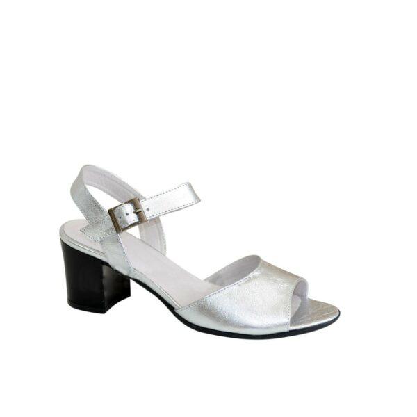 Босоножки кожаные женские на устойчивом каблуке, цвет серебро