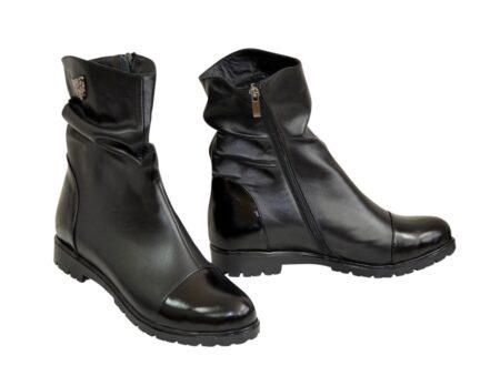Ботинки женские зима осень черные кожаные с лаковыми вставками, на низком ходу