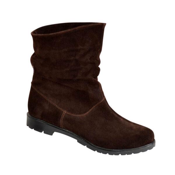 Ботинки коричневые женские замшевые зимние свободного одевания