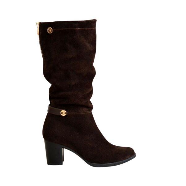 Сапоги коричневые женские демисезонные замшевые на устойчивом невысоком каблуке