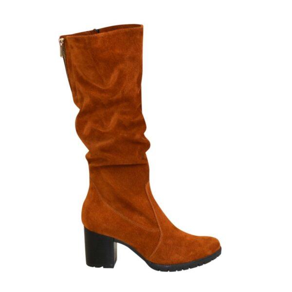 Сапоги женские демисезонные рыжие замшевые сапоги на устойчивом каблуке