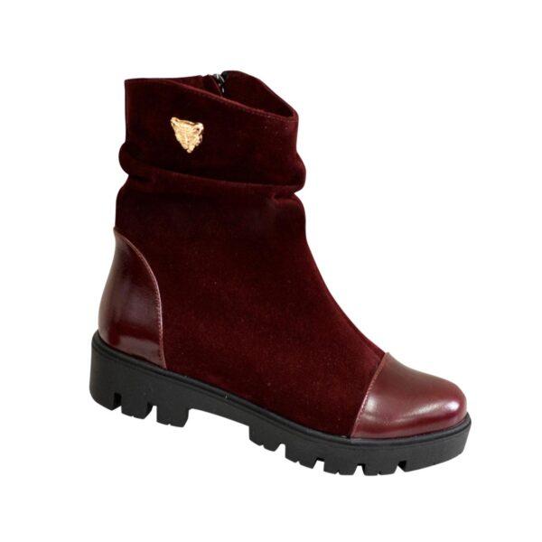 Ботинки женские замшевые зимние бордовые на тракторной подошве