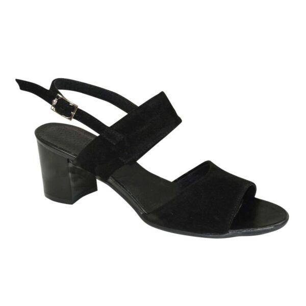 Босоножки женские замшевые черные на невысоком устойчивом каблуке