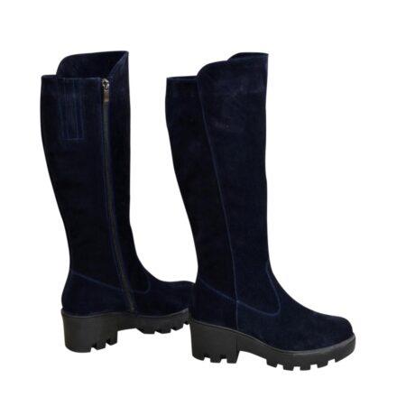 Сапоги синие женские замшевые зимние на утолщенной тракторной подошве