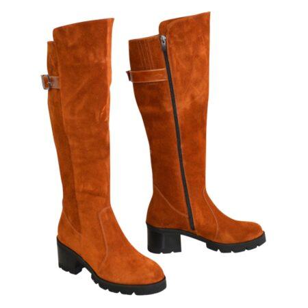 Сапоги ботфорты рыжие женские замшевые на невысоком устойчивом каблуке, зима осень