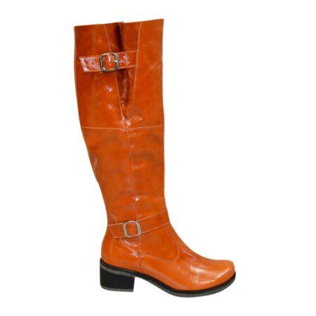 Сапоги ботфорты женские кожаные рыжие на невысоком каблуке