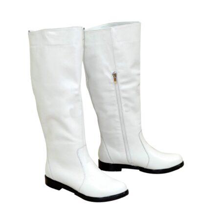Сапоги-трубы кожаные женские осень зима на низком ходу, цвет белый