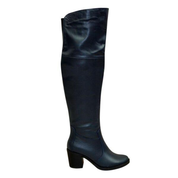 Ботфорты зимние кожаные на устойчивом каблуке, цвет синий