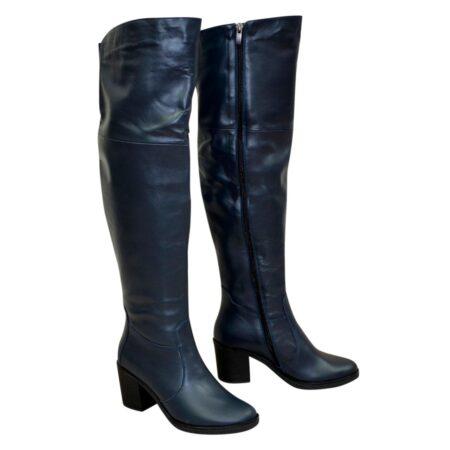 Ботфорты зима осень кожаные на устойчивом каблуке, цвет синий