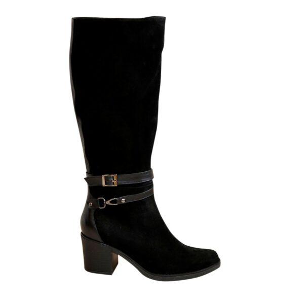 Сапоги женские демисезонные черные на устойчивом каблуке, натуральная замша и кожа
