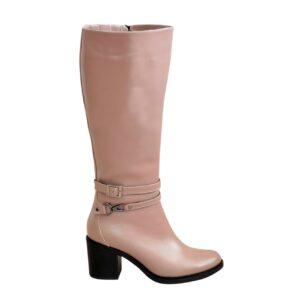 Сапоги женские кожаные на широком устойчивом каблуке, цвет визон