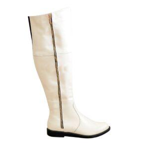 Ботфорты бежевые женские кожаные на низком ходу, осень зима