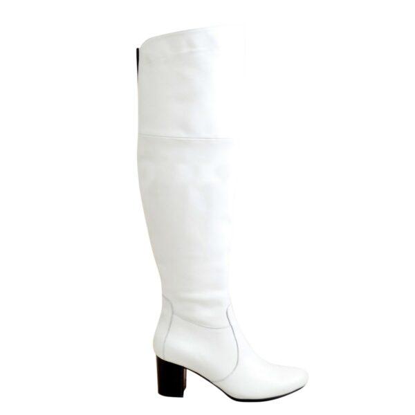 Ботфорты зимние кожаные на устойчивом каблуке, цвет белый