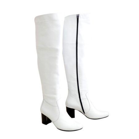 Ботфорты зима осень кожаные на устойчивом каблуке, цвет белый