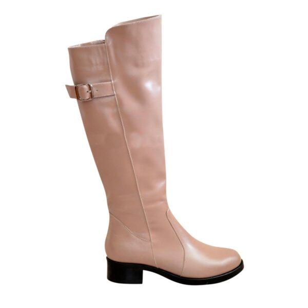 Сапоги женские зимние кожаные на невысоком устойчивом каблуке, цвет визон