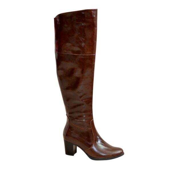 Ботфорты зимние кожаные на устойчивом каблуке, цвет коричневый