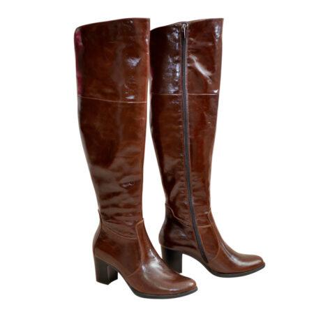Ботфорты осень зима кожаные на устойчивом каблуке, коньячного цвета