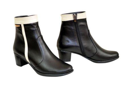 ботинки женские из натуральной кожи черного цвета на удобном невысоком каблуке/зима-осень