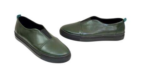Женские кожаные зеленые кеды на утолщенной черной подошве