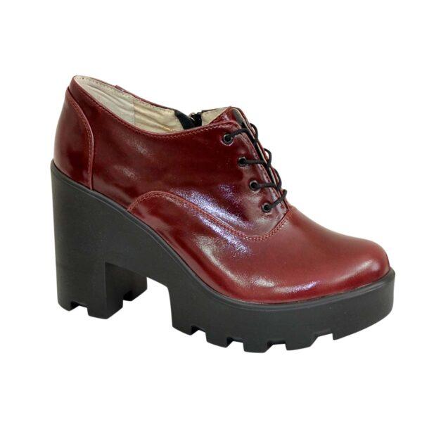 Туфли женские кожаные на шнуровке, высокий каблук, бордовый цвет