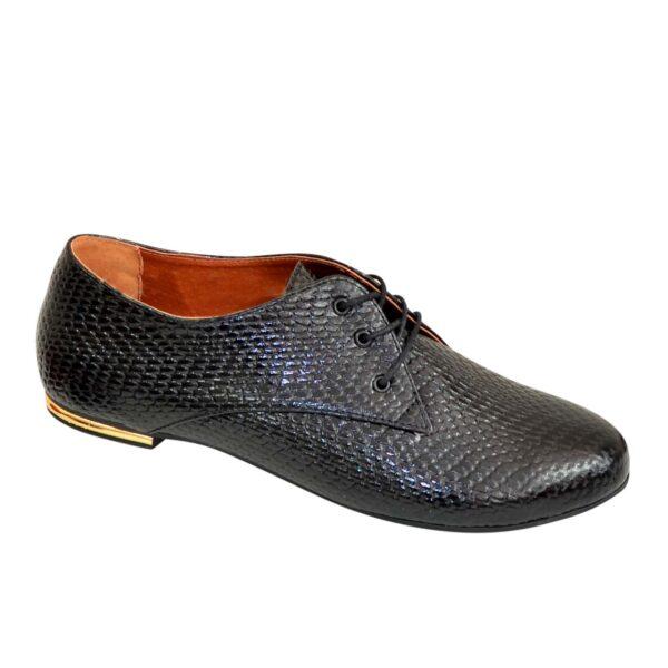 Туфли женские черные на шнуровке, низкий ход