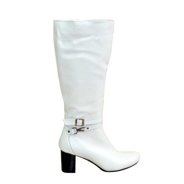 Сапоги демисезонные кожаные женские на устойчивом каблуке, цвет белый