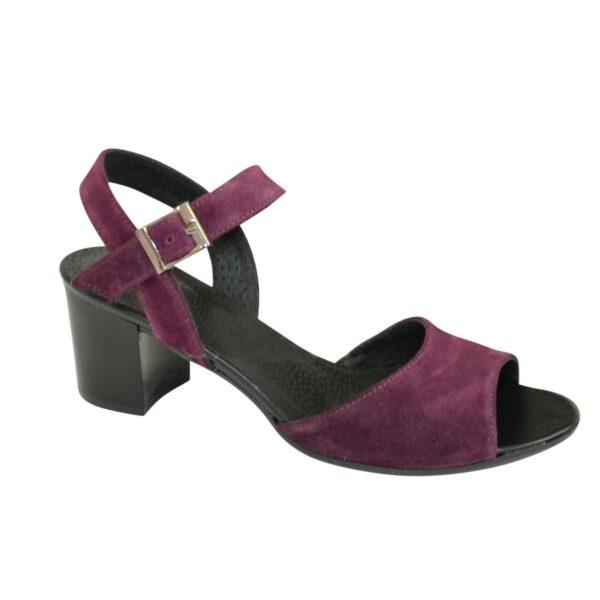 Босоножки замшевые женские на устойчивом каблуке, цвет фиолетовый