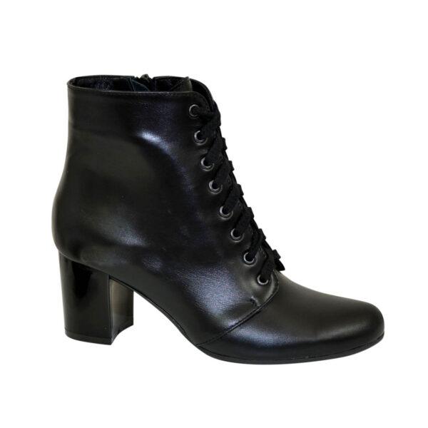 Ботинки женские кожаные зимние на устойчивом каблуке, цвет черный