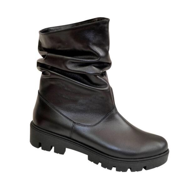 Кожаные женские зимние ботинки свободного одевания