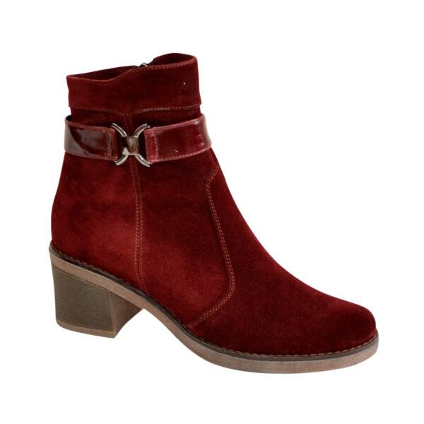 Полуботинки бордовые женские зимние замшевые на невысоком каблуке