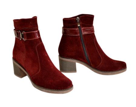 женские ботинки из натуральной замши бордового цвета на невысоком каблуке, зима-осень