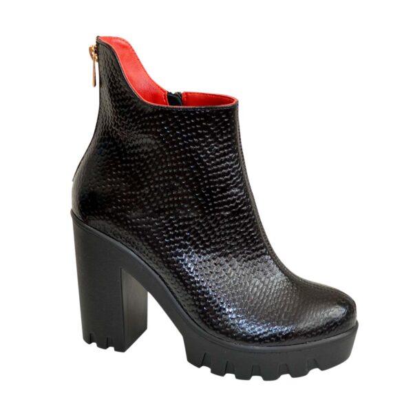 Ботинки женские зимние на устойчивом каблуке, натуральная красная кожа и кожа питон