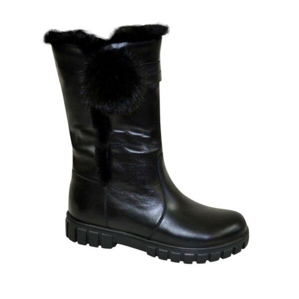 Полусапоги черные кожаные для девочек подростковые на утолщённой подошве