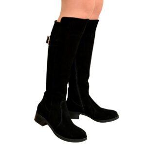 Сапоги ботфорты черные женские зимние замшевые на невысоком устойчивом каблуке, осень зима