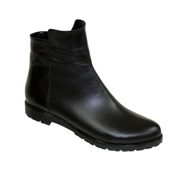 Ботинки черные женские кожаные зимние на низком ходу