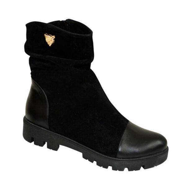 Ботинки женские замшевые зимние черные на тракторной подошве