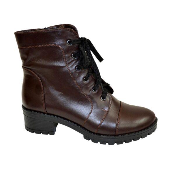 Ботинки коричневые женские кожаные зимние на устойчивом каблуке