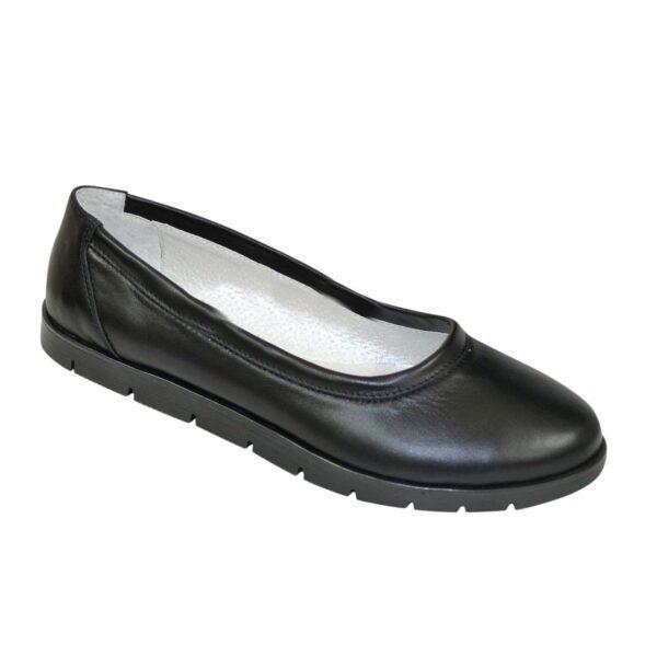 Туфли-балетки женские кожаные черные на утолщенной подошве