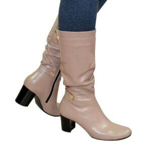 Сапоги  кожаные женские на невысоком устойчивом каблуке зима осень, цвет визон