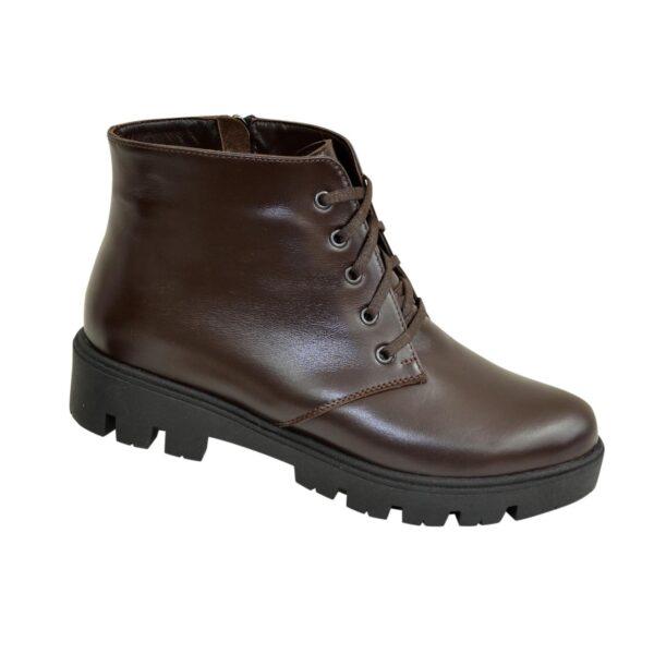 Ботинки демисезонные женские коричневые кожаные на шнуровке, утолщенная подошва