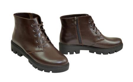 Ботинки зима осень женские коричневые кожаные на шнуровке, тракторная подошва