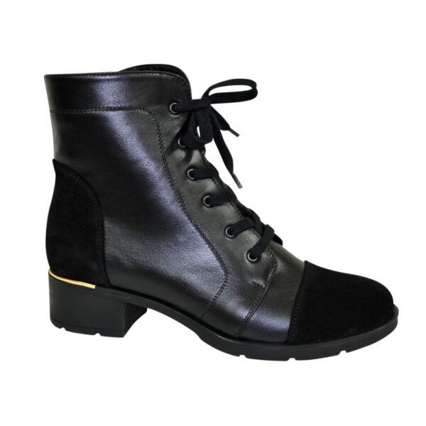 Ботинки черные женские кожаные зимние на устойчивом каблуке, декорированы замшевыми вставками