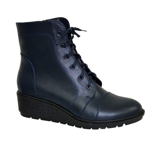 Ботинки синие женские кожаные демисезонные на невысокой танкетке