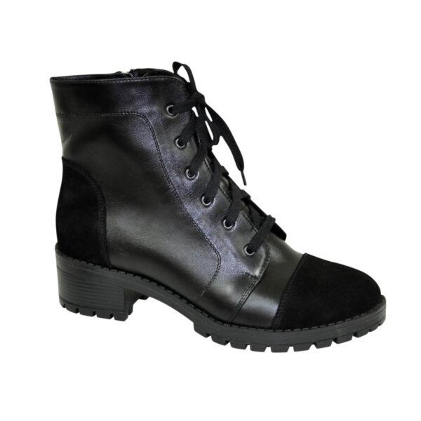 Ботинки черные женские кожаные демисезонные на устойчивом каблуке, декорированы замшевыми вставками
