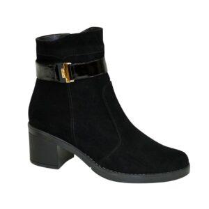 Женские замшевые ботинки черного цвета на невысоком каблуке, демисезон-зима