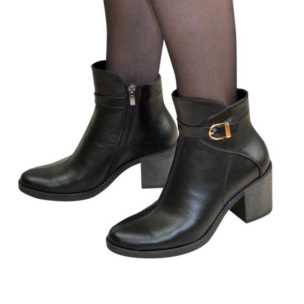 Ботинки зимние женские на устойчивом каблуке, натуральная черная кожа